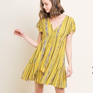 Umgee Floral Print Ruffle Sleeve Dress